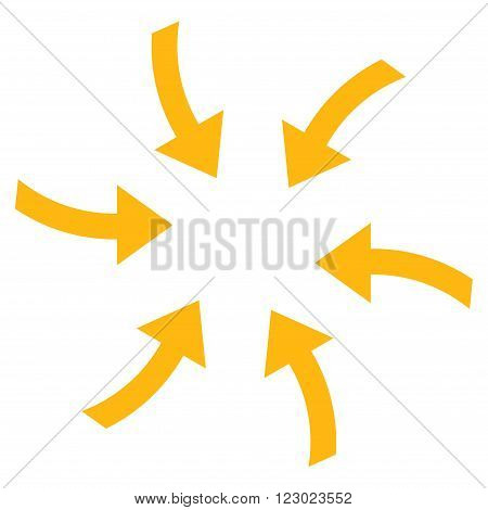 Twirl Arrows vector icon symbol. Image style is flat twirl arrows icon symbol drawn with yellow color on a white background.