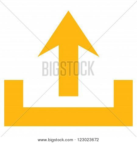 Upload vector icon symbol. Image style is flat upload iconic symbol drawn with yellow color on a white background.