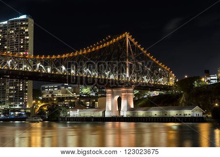The northern side of the Brisbane Story Bridge as viewed from the New Farm Riverwalk