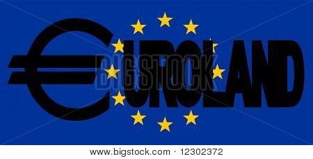 euroland text with Euro sign and EU flag illustration JPG