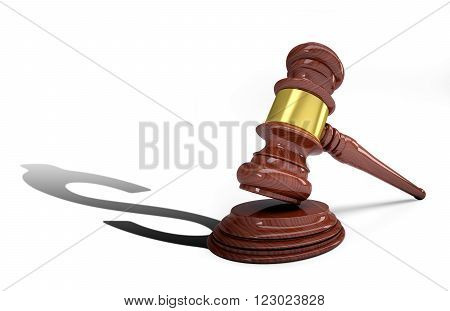 Wooden judge gavel and soundboard with dollar shadow isolated on white background
