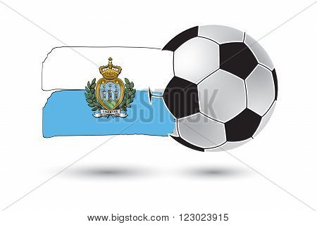 Soccer Ball And San Marino Flag With Colored Hand Drawn Lines