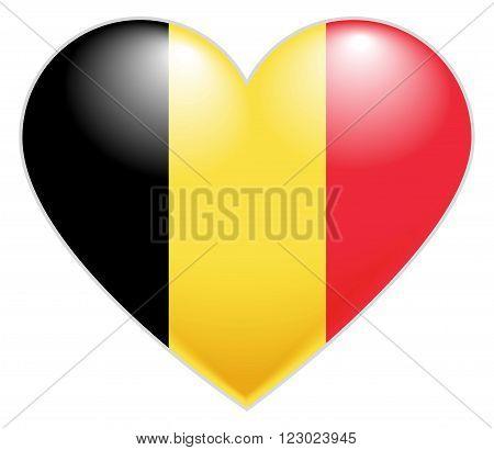 Belgium Flag Heart. Belgian flag icon in shape of heart. Isolated on white vector illustration