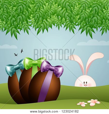 illustration of rabbit with chocolate egg for Easter