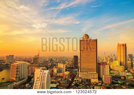 Bangkok City at evening time Hotel and resident area in the capital of Thailand
