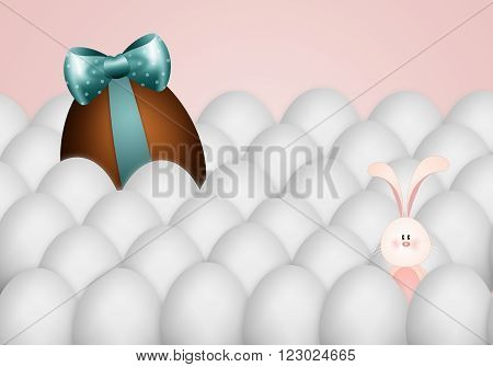 illustration of funny bunny with chocolate egg