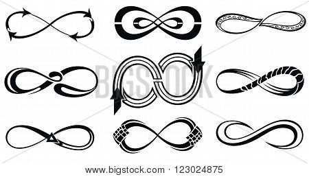 Infinity symbols. Tattoo symbols. Infinity icons for your design