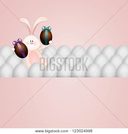 Funny bunny with chocolate eggs for Happy Easter