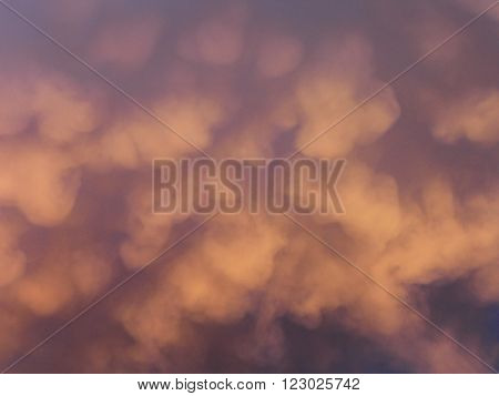 Puffy clouds of a thunder storm at sunset.