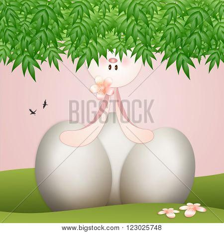 Funny rabbit with eggs for Happy Easter