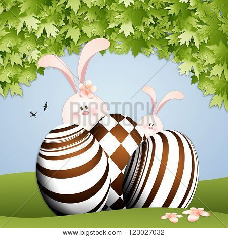 illustration of Rabbit with chocolate eggs for Easter