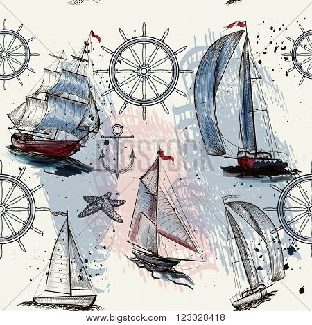 Seamless pattern with ships drawn in watercolor style for design