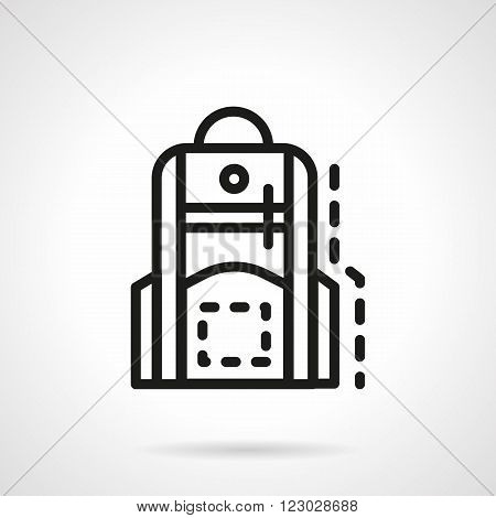 Backpack with handle and pockets. Accessories for school, hike. Rucksack. School bag. Vector icon simple black line style. Single design element for website, business.