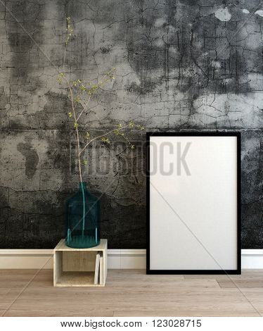 3D render of cracked wall and empty picture frame with black border on wooden floor next to little tree in pot