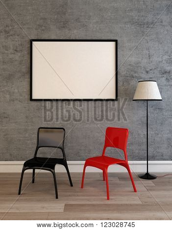 Contemporary black and red chairs on a wooden floor below a large empty picture frame hanging on a grey wall. 3d Rendering.