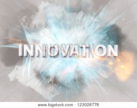 Intense innovation text logo rendered in 3D with sparkles, fire, intersecting lines and painterly effect in background
