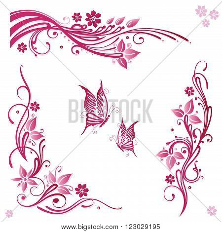 Pink and green summer flowers with butterflies, floral vector set.