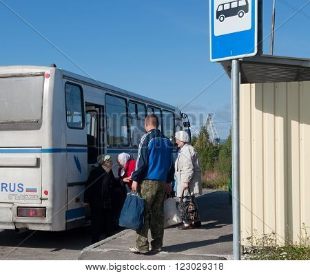 Murmansk, Russia - august 28, 2012, The bus stop on the outskirts of the city, Murmansk