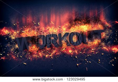 Burning orange fiery flames and explosive sparks on a dark background with the word - WORKOUT - in black text for a dramatic poster design