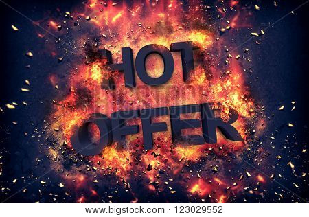 Burning orange fiery flames and explosive sparks on a dark background with the word - HOT OFFER - in black text for a dramatic poster design
