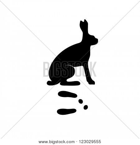 Wild hare rabbit animal black silhouette and wild animal predator symbol. Predator silhouette. Wild life black animal silhouette. Black silhouette wild animal zoo vector.