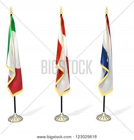 3d flag collection with pole on white background 3D illustration