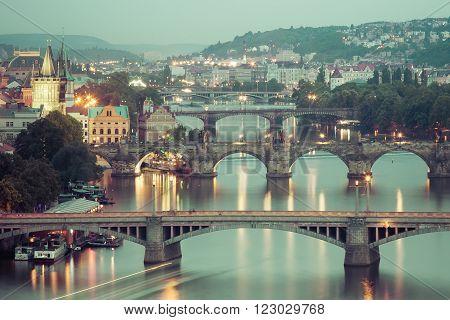 Prague bridges in the night Prague Czech Republic Europe