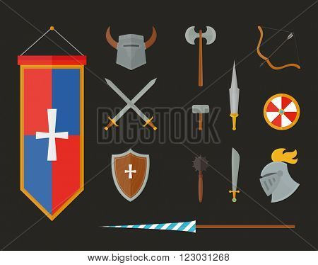 Knight metal armour and vintage knight armour weapon vector. Knight armour with helmet, chest plate, shield and sword flat vector illustration isolated on white background.