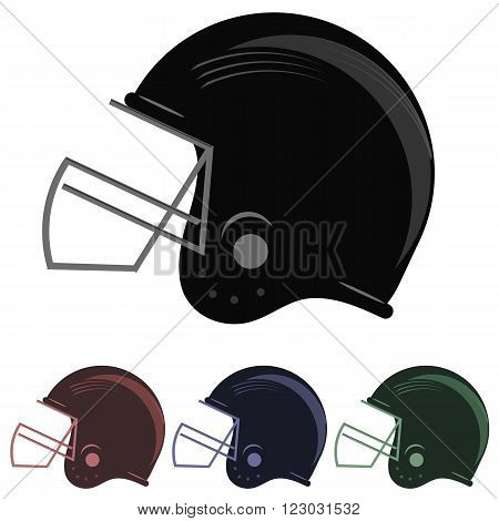 Set of Colorful Football Helmet Icons Isolated on White Background