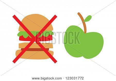 Healthy eating concept vector illustration. Flat apple and hamburger healthy eating icons. Healthy eating concept