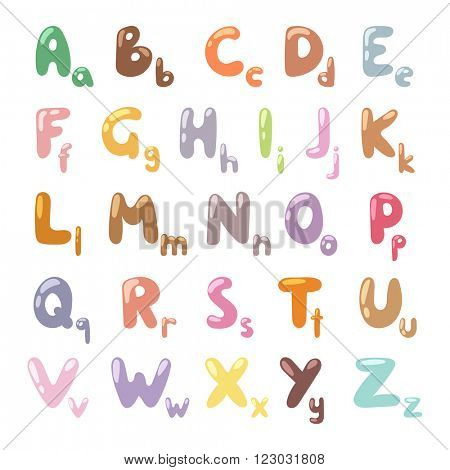 Cartoon Alphabet symbols and cartoon colorful type alphabet vector. English funny cartoon alphabet vector illustration.