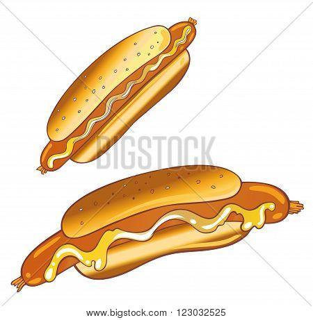Colorful hotdogs, fast food vector set, design elements.