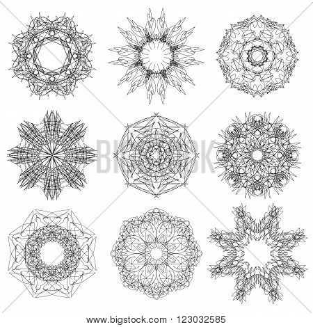 Set of Rosettes Isolated on White Background