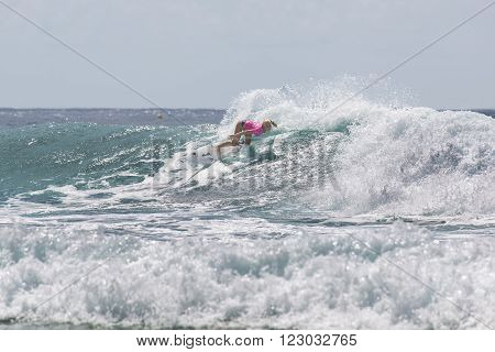 GOLD COAST, AUSTRALIA - MARCH 12 2016: Tatiana Weston-Webb (HAW) competing in the Quiksilver Pro at Snapper Rocks Coolangatta