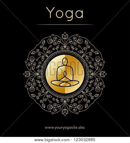 Vector yoga illustration. Yoga poster with floral ornament and yogi silhouette. Identity design for yoga studio yoga center class. Template for SPA ayurveda clinic in luxury style with gold texture