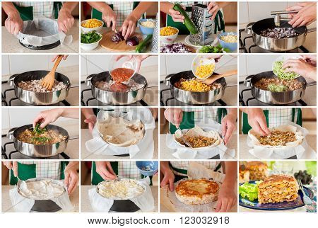 A Step By Step Collage Of Making Chicken And Zucchini Tortilla Pie