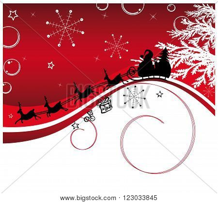 Santa Claus with sledge and reindeers, vector background.