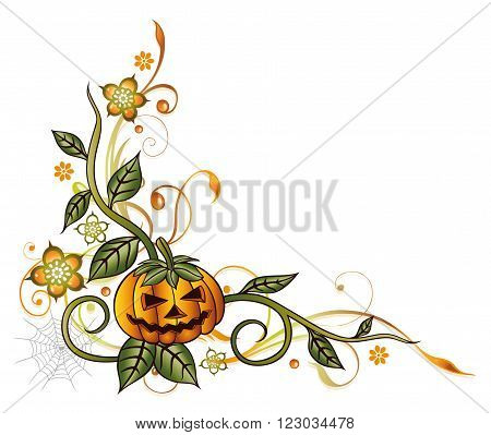 Decorative halloween tendril, with pumpkin, flowers and leaves.