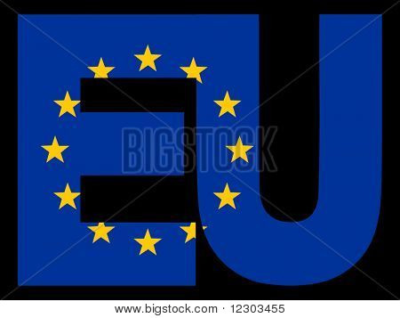 EU Text and European Union flag illustration JPG