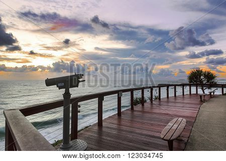 GOLD COAST, AUSTRALIA - MARCH 12 2016: Sunrise at Point Danger lookout Tweed Heads, on the border of New South Wales and Queensland
