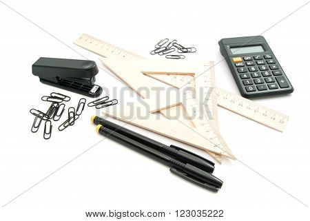 Ruler, Black Calculator And Other Stationery