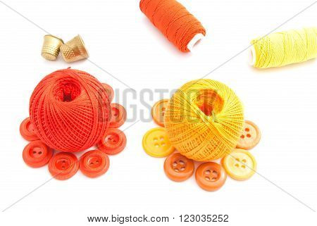 Colored Balls Of Yarn, Thimbles And Buttons