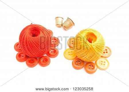 Balls Of Yarn, Thimbles And Colored Buttons