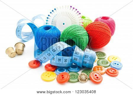 Meter, Colored Buttons, Thimbles And Thread