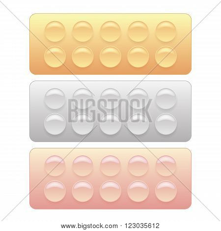 Set of Colorful Pills Blisters Isolated on White Background