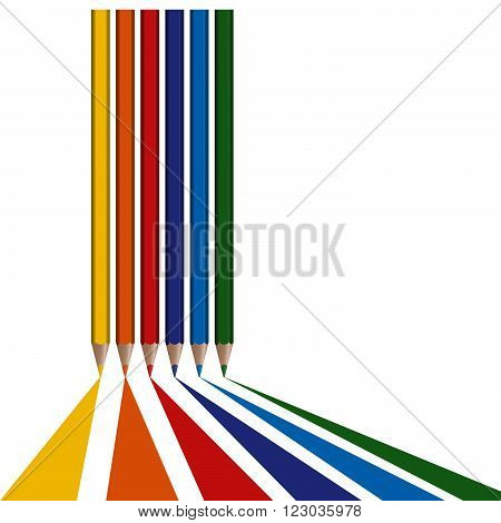 six different colored pencils draw lines from bottom border