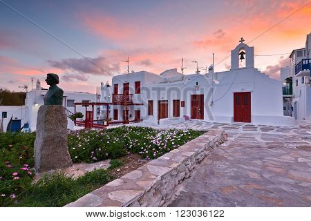 MYKONOS, GREECE - MARCH 06, 2016: Traditional architecture in the town of Mykonos, Greece on March 06, 2016.