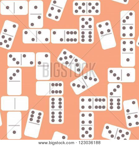 Seamless cartoon dominoes pattern. Vector illustration. Board game