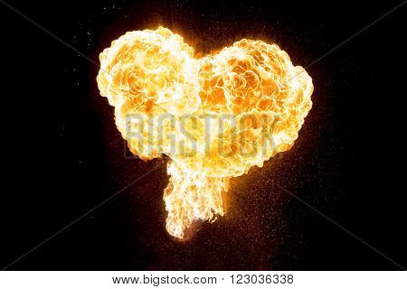 Hot fire love heart full of power and energy. Wonderful perfect red orange burning heart shape symbol for e.g. Valentine's Day, love, passion, hope, fight, friendship, power, health or energy.