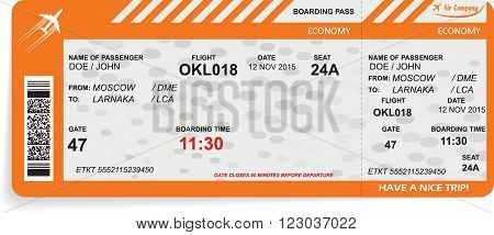 Vector illustration of pattern of airline boarding pass ticket. Concept of travel, journey or business. Isolated on white. Vector illustration